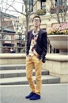 navy velvet thrifted boots - mustard thrifted jeans - black Orange County blazer