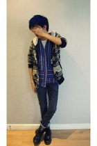 blue Igorot Vest vest - black Tribal Toggle Coat jacket - black Dr Martens shoes