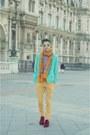Brick-red-velvet-divided-for-h-m-shoes-aquamarine-forever21-blazer