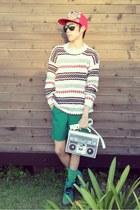 white radio bag thrifted bag - aquamarine Dr Martens boots