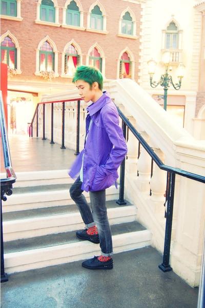 black Christian Louboutin Knockoffs shoes - deep purple jacket