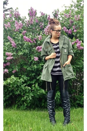 black Slouchy leather boots boots - olive green Rothco Utility Jacket coat