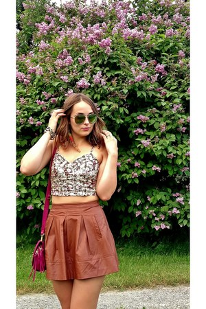 cognac brown Leather skater skirt skirt - pink cross body bag purse