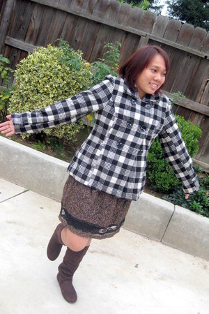 Candie boots - Wet Seal coat - skirt