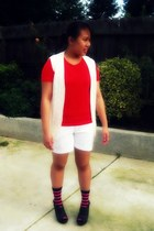 peep toe clogs - red t-shirt - knitted vest