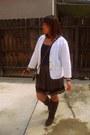 Brown-candie-boots-white-blazer-mango-bag-skirt-blue-wet-seal-intimate