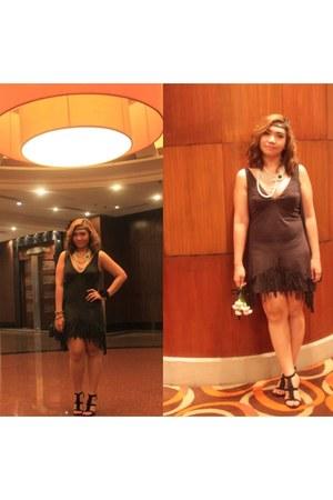 dark gray fringe Zara dress - fringe Accessorize sandals