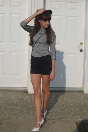 blue H&M shorts - gray JCrew shirt - white Charlotte Russe shoes - blue vintage