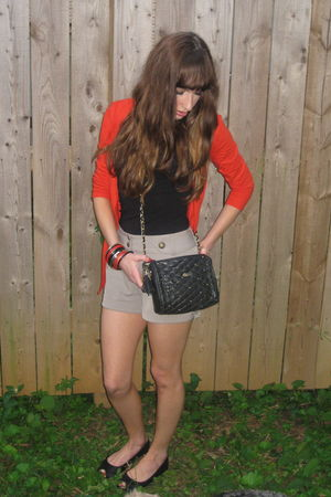 red asos cardigan - black H&M shoes - black vintage bag - beige H&M shorts