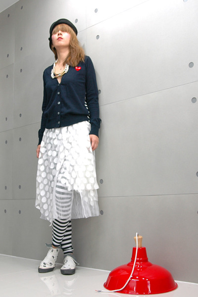 black leggings - off white skirt - navy cardigan