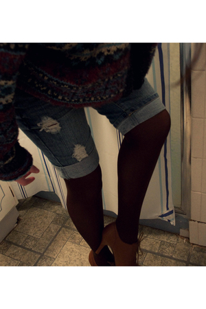 blue vintage sweater - blue kohls shorts - brown unkown tights - brown Forever 2