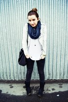white Zara blouse - black Bershka jeans - light blue reserved jacket