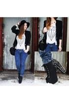 black Glitter hat - black Stradivarius blazer - navy pull&bear pants