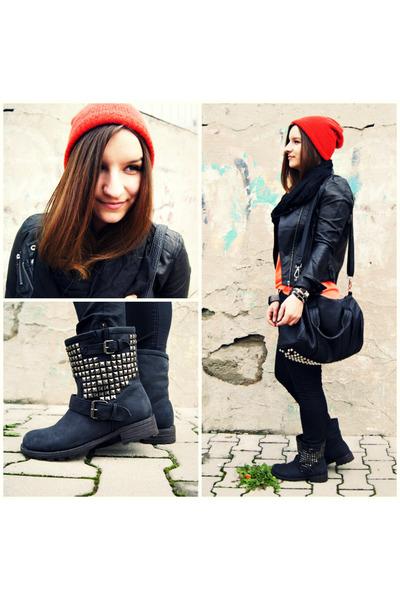 red H&M hat - black OASAP jacket