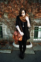 black Zara dress - black Bershka blazer - bronze H&M scarf