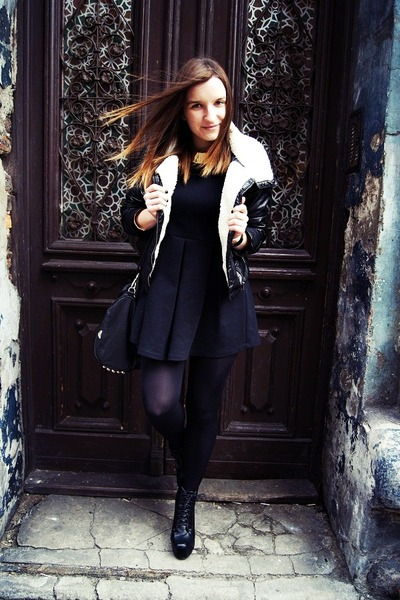 black H&M jacket - black Zara dress