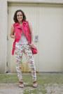 White-floral-skinny-justfab-jeans-coral-studded-moto-forever-21-vest