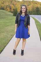 black JustFab boots - blue Target dress