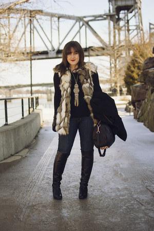 eggshell fur Zara vest - black Michael Kors boots - navy Hudson jeans