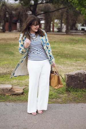 white wide leg Trina Turk pants - off white floral trench Old Navy coat