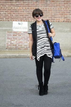 black utility H&M vest - black suede booties JustFab boots