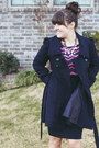 Navy-forever-21-coat-hot-pink-shoedazzle-boots