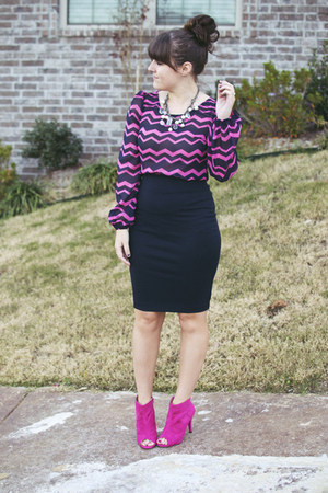 navy Forever 21 coat - hot pink Shoedazzle boots