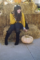 mustard The Limited blazer - black bow JustFab boots - navy skinny JustFab jeans