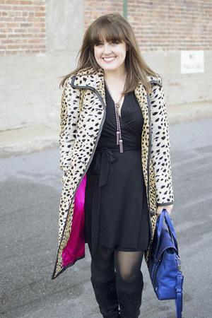 black wrap dvf dress - black suede Shoedazzle boots