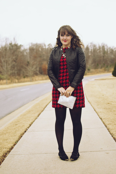 red Target dress - black leather Forever 21 jacket - black mary janes Zara flats