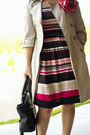 Beige-trench-old-navy-coat-navy-striped-aline-the-limited-dress
