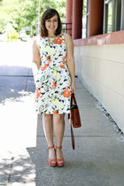 white floral a-line Gap dress - light orange ankle strap Shoedazzle wedges