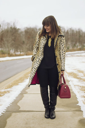 camel leopard fur Trina Turk coat - black Shoedazzle boots - brick red coach bag
