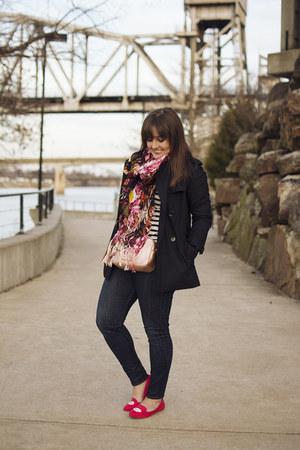 black coach coat - bubble gum Gucci bag - hot pink JustFab flats
