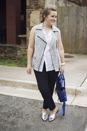 heather gray tweed moto Forever 21 vest - blue pashli 31 Phillip Lim bag