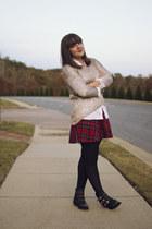 brick red plaid skater Forever 21 skirt - black JustFab boots
