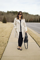black skinny ankle The Limited pants - beige trench Old Navy coat
