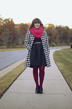 black houndstooth JC Penney coat - black leather booties Sole Society boots