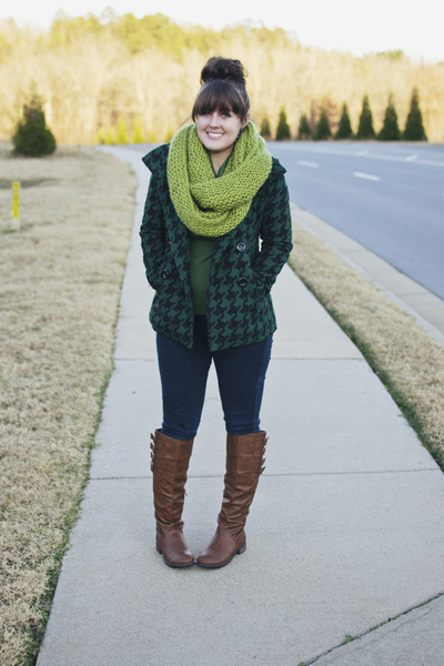 green cowl neck The Limited sweater - brown flat tall JustFab boots