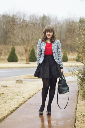 black graphic print H&M blazer - black kate spade skirt - red The Limited top