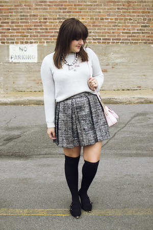black over the knee HUE socks - silver H&M sweater