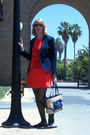 Orange-dress-navy-blazer-navy-coach-bag-black-jcrew-flats