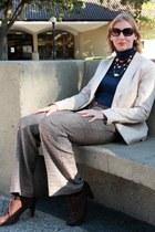 necklace - ivory Zara blazer - light brown Express pants - dark brown ecco heels