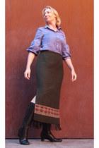 army green blanket Duratex skirt - black ecco boots - light blue Twist blouse