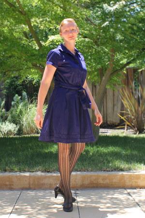 blue dress - black lace tights - black Aldo heels