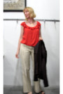 Coral-frilly-polo-garage-blouse-brown-banana-republic-blazer