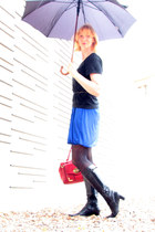 blue bubble hem Polo Garage dress - black ecco boots