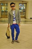 bronze Celine bag - blue alexander mc queen t-shirt - dark green asos sandals -