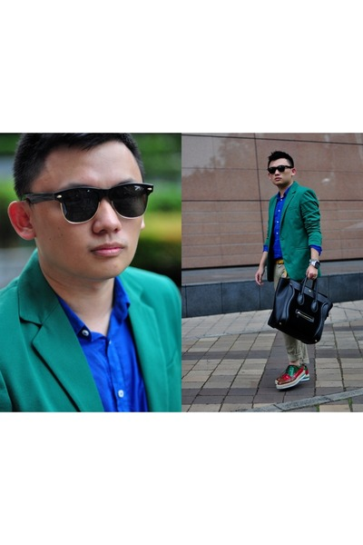 chartreuse Zara blazer - red Prada shoes - camel Uniqlo jeans - blue Zara shirt