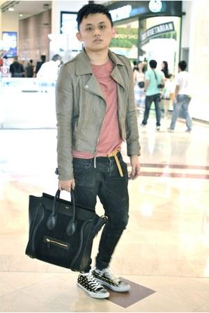 black Balmain Homme jeans - salmon leather jacket Topshop jacket - black Celine